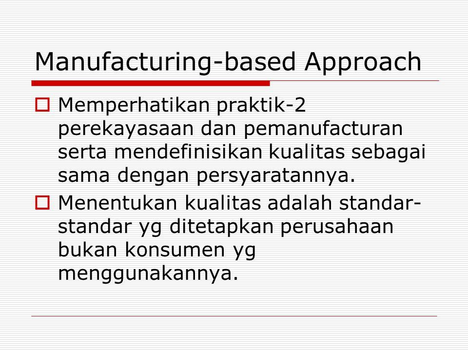 Manufacturing-based Approach  Memperhatikan praktik-2 perekayasaan dan pemanufacturan serta mendefinisikan kualitas sebagai sama dengan persyaratanny