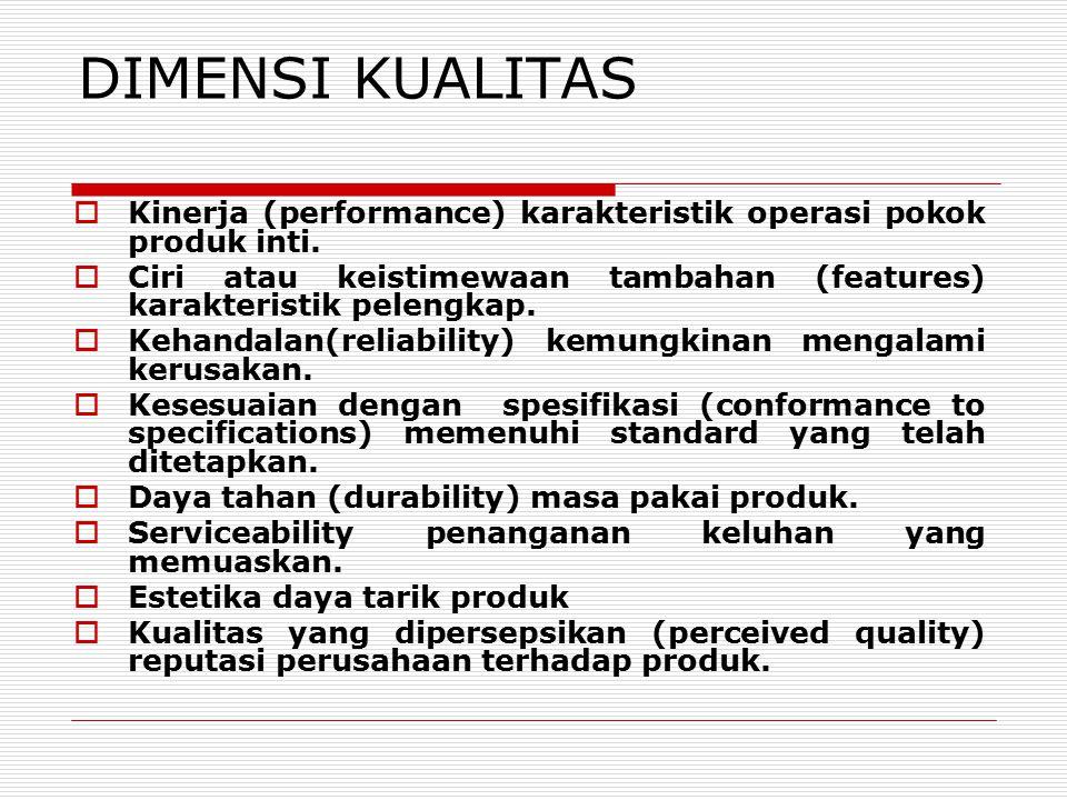 DIMENSI KUALITAS  Kinerja (performance) karakteristik operasi pokok produk inti.  Ciri atau keistimewaan tambahan (features) karakteristik pelengkap