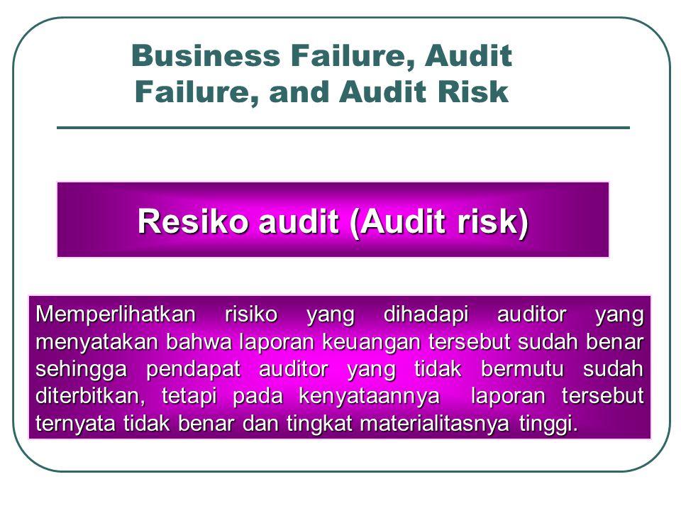 Business Failure, Audit Failure, and Audit Risk Kesalahan audit (Audit failure) Terjadi ketika auditor mengeluarkan pendapat audit yang salah karena tidak memenuhi syarat yang tercantum pada standar audit yang diterima / general accepted auditing standard/GAAS)