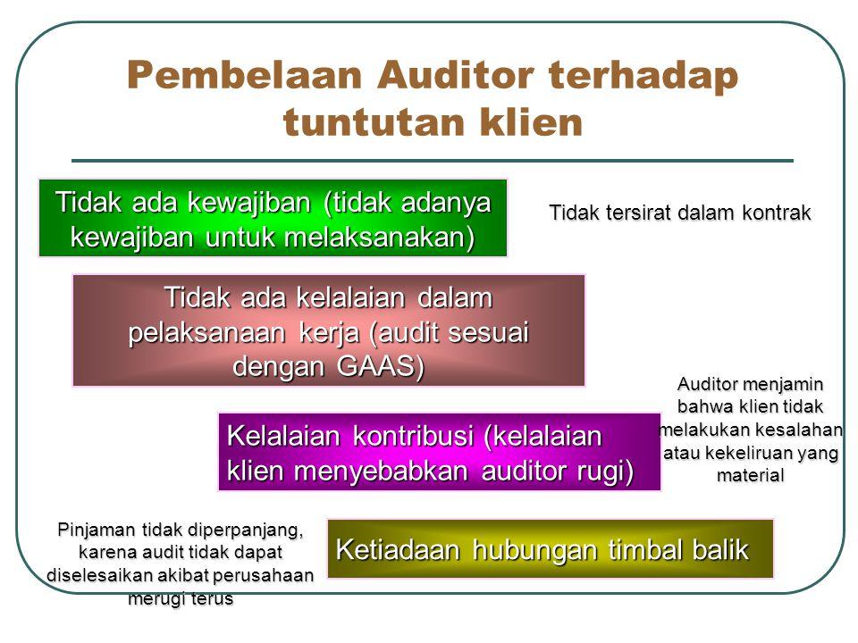 Kewajiban kepada klien Kewajiban hukum bagi akuntan publik yang paling umum adalah kewajiban kepada klien Gagal dalam tepat waktu Pelaksanaan audit tidak memadai Gagal menemukan ketidak beresan Pelanggaran rahasia oleh auditor