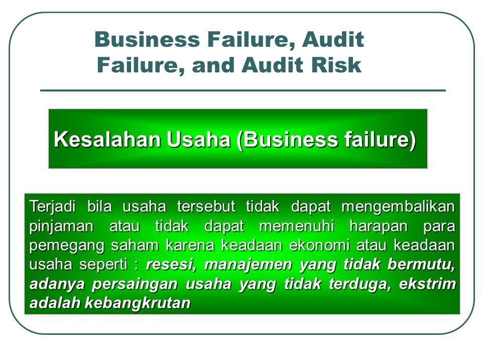 Business Failure, Audit Failure, and Audit Risk Businessfailure Auditfailure Auditrisk Bangkrut Tidak menemukan masalah Kesalahan penerapan prosedur