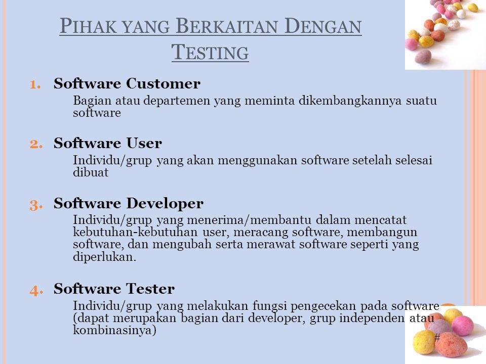# P IHAK YANG B ERKAITAN D ENGAN T ESTING 1.Software Customer Bagian atau departemen yang meminta dikembangkannya suatu software 2.Software User Indiv
