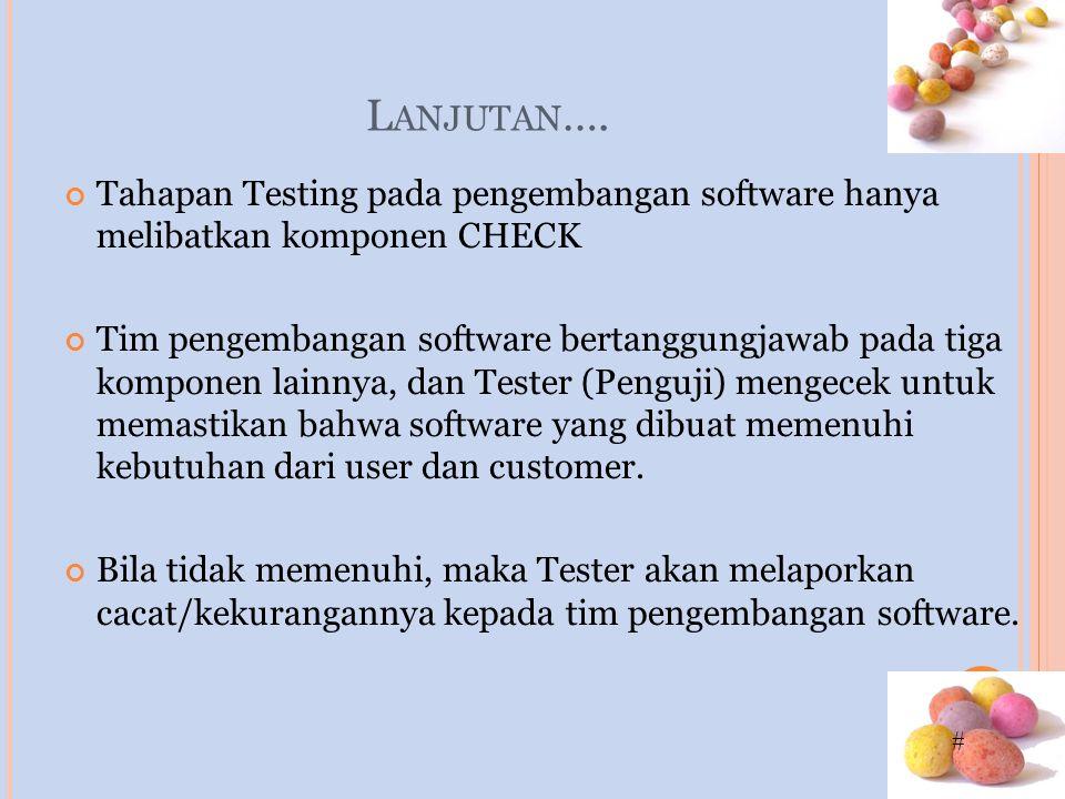 # L ANJUTAN …. Tahapan Testing pada pengembangan software hanya melibatkan komponen CHECK Tim pengembangan software bertanggungjawab pada tiga kompone