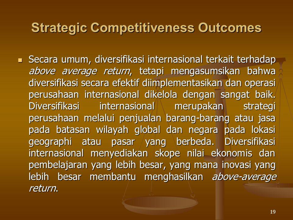 19 Strategic Competitiveness Outcomes Secara umum, diversifikasi internasional terkait terhadap above average return, tetapi mengasumsikan bahwa diver