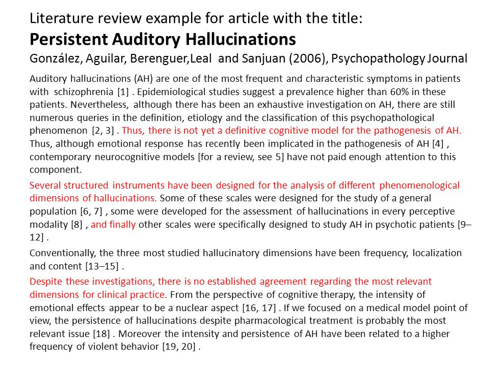 Literature review example for article with the title: Persistent Auditory Hallucinations González, Aguilar, Berenguer,Leal and Sanjuan (2006), Psychop