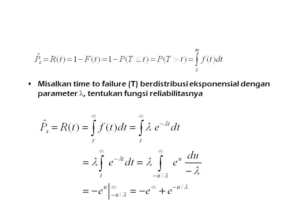 Misalkan time to failure (T) berdistribusi eksponensial dengan parameter, tentukan fungsi reliabilitasnya