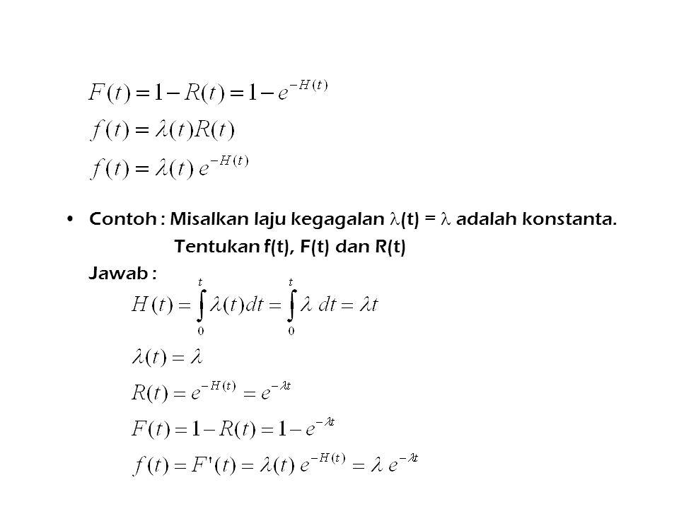 Contoh : Misalkan laju kegagalan (t) = adalah konstanta. Tentukan f(t), F(t) dan R(t) Jawab :