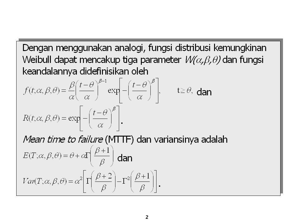 Rangkaian Seri 12n-1n … Sebuah system yang terdiri dari n buah komponen independen yang dirangkai secara seri akan survive selama waktu t, jika dan hanya jika seluruh komponennya survive pada waktu t, dan nilai reliabilitas system-nya adalah