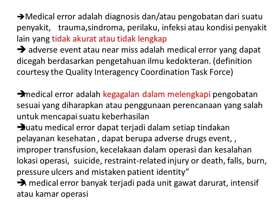  Medical error adalah diagnosis dan/atau pengobatan dari suatu penyakit, trauma,sindroma, perilaku, infeksi atau kondisi penyakit lain yang tidak akurat atau tidak lengkap  adverse event atau near miss adalah medical error yang dapat dicegah berdasarkan pengetahuan ilmu kedokteran.