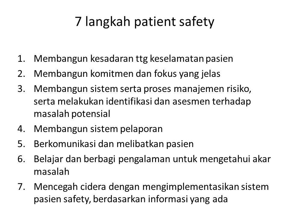 7 langkah patient safety 1.Membangun kesadaran ttg keselamatan pasien 2.Membangun komitmen dan fokus yang jelas 3.Membangun sistem serta proses manajemen risiko, serta melakukan identifikasi dan asesmen terhadap masalah potensial 4.Membangun sistem pelaporan 5.Berkomunikasi dan melibatkan pasien 6.Belajar dan berbagi pengalaman untuk mengetahui akar masalah 7.Mencegah cidera dengan mengimplementasikan sistem pasien safety, berdasarkan informasi yang ada