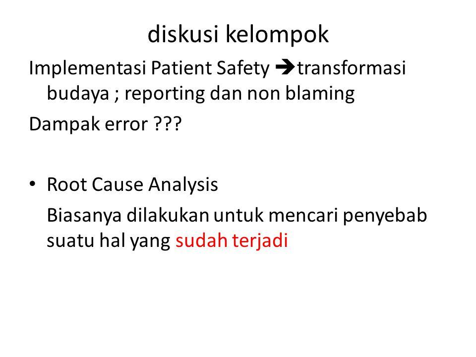 diskusi kelompok Implementasi Patient Safety  transformasi budaya ; reporting dan non blaming Dampak error ??.