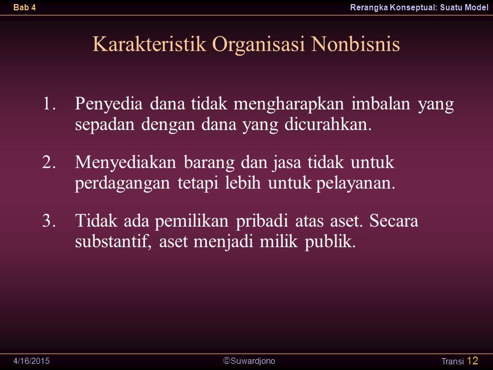  Suwardjono Bab 4Rerangka Konseptual: Suatu Model 4/16/2015 Transi 12 Karakteristik Organisasi Nonbisnis 1.Penyedia dana tidak mengharapkan imbalan y