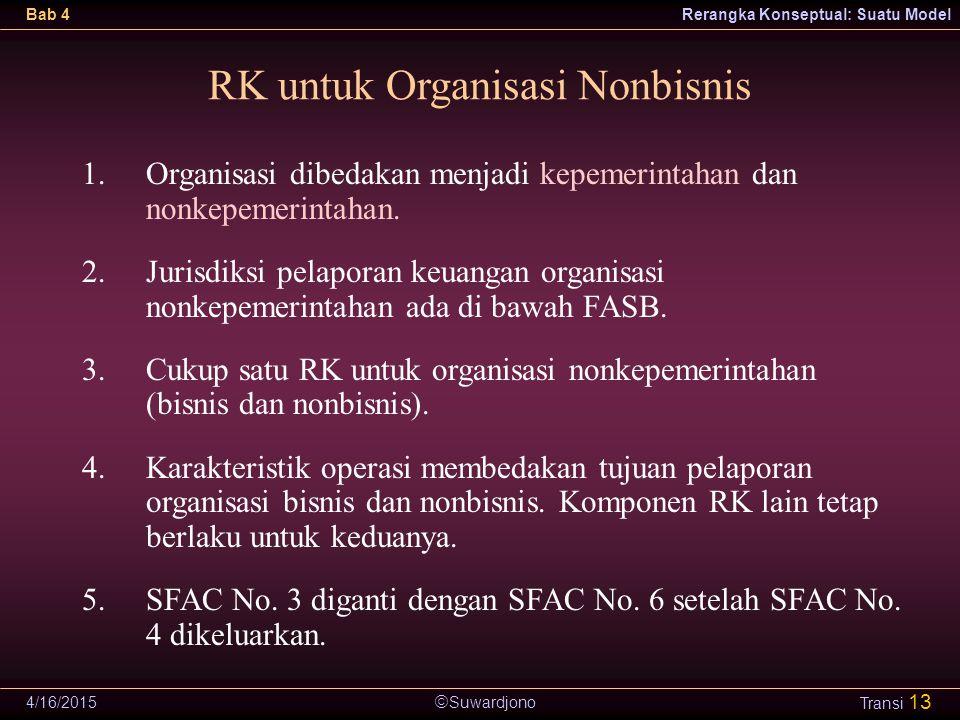  Suwardjono Bab 4Rerangka Konseptual: Suatu Model 4/16/2015 Transi 13 RK untuk Organisasi Nonbisnis 1.Organisasi dibedakan menjadi kepemerintahan dan