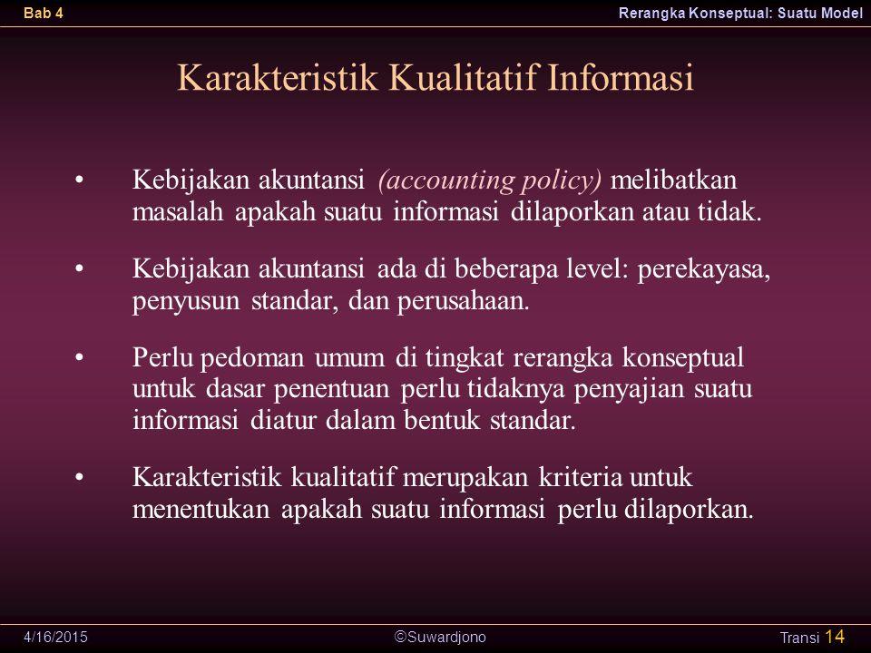  Suwardjono Bab 4Rerangka Konseptual: Suatu Model 4/16/2015 Transi 14 Karakteristik Kualitatif Informasi Kebijakan akuntansi (accounting policy) meli