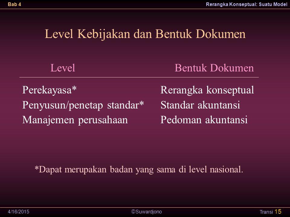  Suwardjono Bab 4Rerangka Konseptual: Suatu Model 4/16/2015 Transi 15 Level Kebijakan dan Bentuk Dokumen Level Perekayasa* Penyusun/penetap standar*