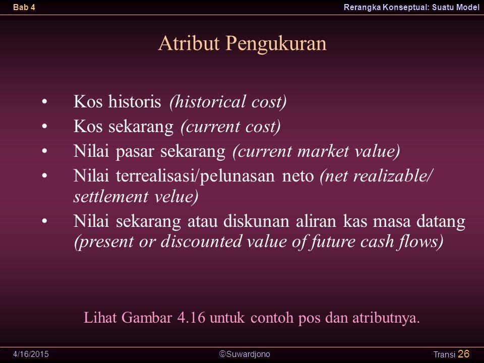  Suwardjono Bab 4Rerangka Konseptual: Suatu Model 4/16/2015 Transi 26 Atribut Pengukuran Kos historis (historical cost) Kos sekarang (current cost) N