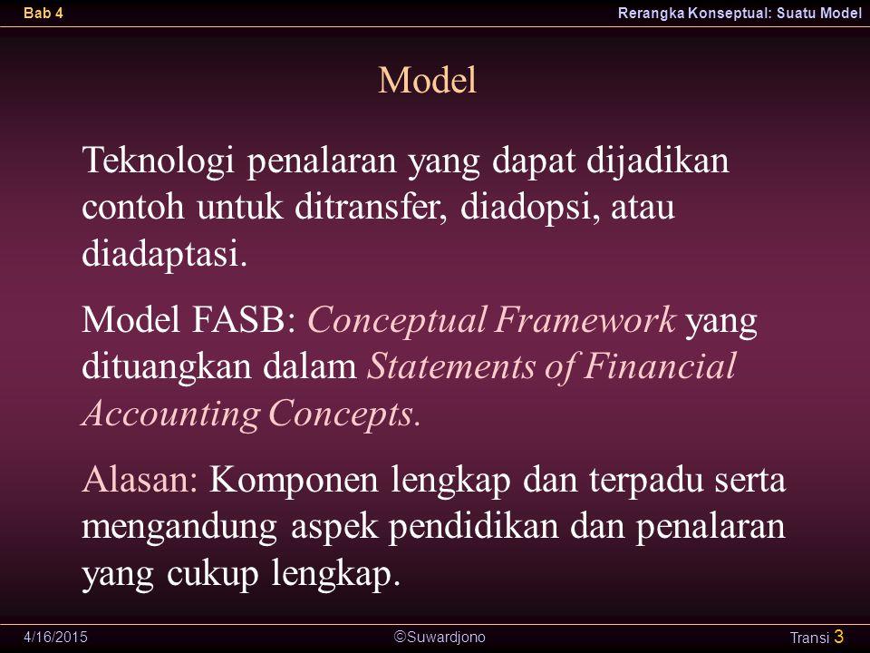  Suwardjono Bab 4Rerangka Konseptual: Suatu Model 4/16/2015 Transi 3 Teknologi penalaran yang dapat dijadikan contoh untuk ditransfer, diadopsi, atau
