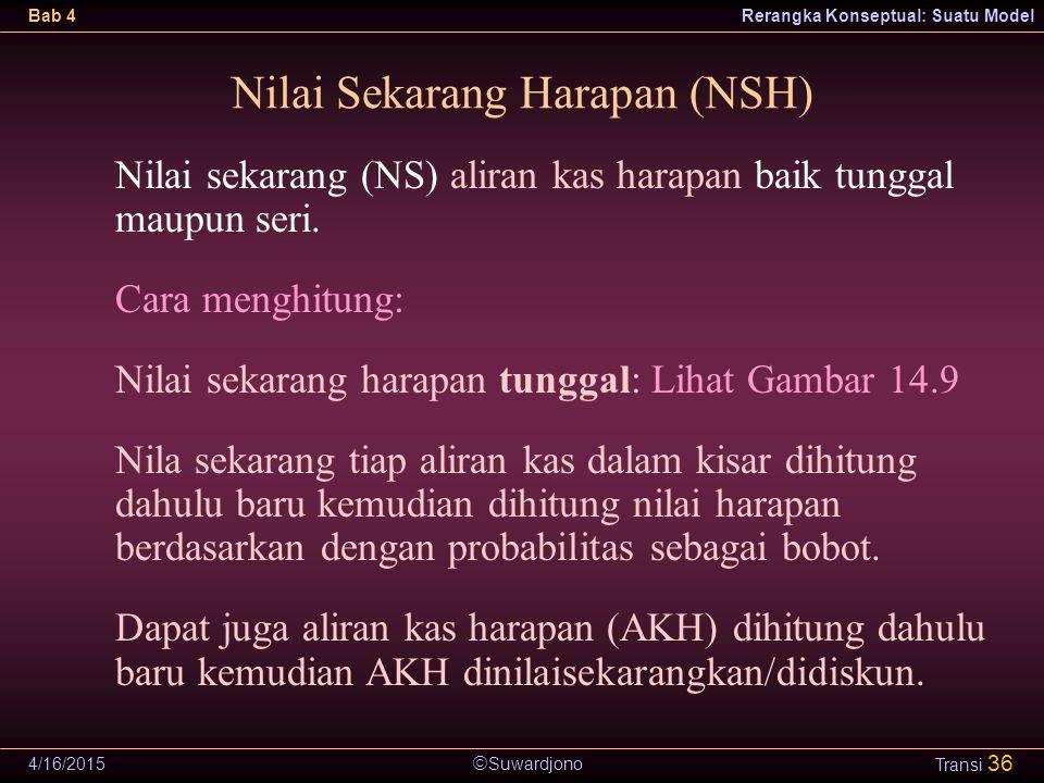  Suwardjono Bab 4Rerangka Konseptual: Suatu Model 4/16/2015 Transi 36 Nilai Sekarang Harapan (NSH) Nilai sekarang (NS) aliran kas harapan baik tungga