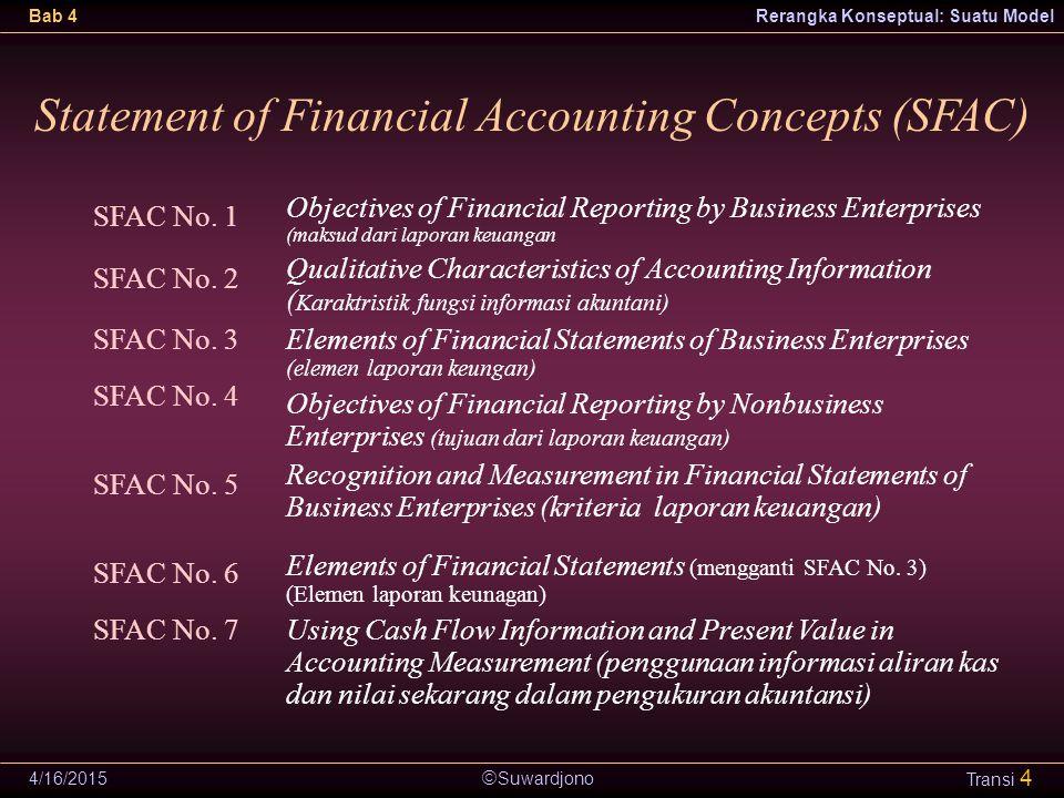  Suwardjono Bab 4Rerangka Konseptual: Suatu Model 4/16/2015 Transi 4 Statement of Financial Accounting Concepts (SFAC) Objectives of Financial Report