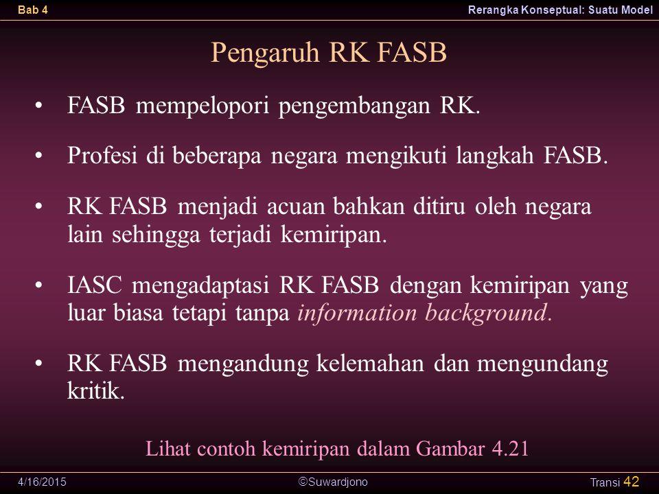  Suwardjono Bab 4Rerangka Konseptual: Suatu Model 4/16/2015 Transi 42 Pengaruh RK FASB FASB mempelopori pengembangan RK. Profesi di beberapa negara m