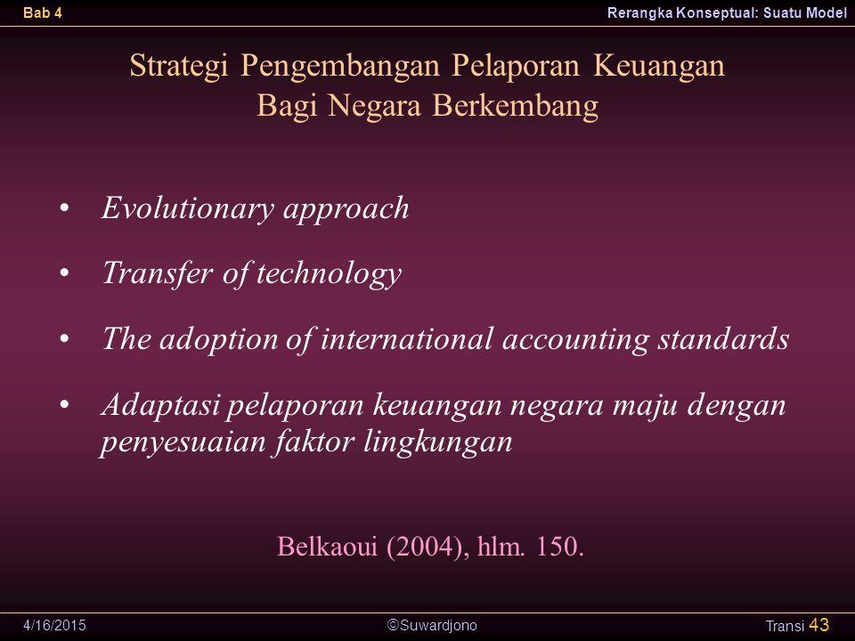  Suwardjono Bab 4Rerangka Konseptual: Suatu Model 4/16/2015 Transi 43 Strategi Pengembangan Pelaporan Keuangan Bagi Negara Berkembang Evolutionary ap