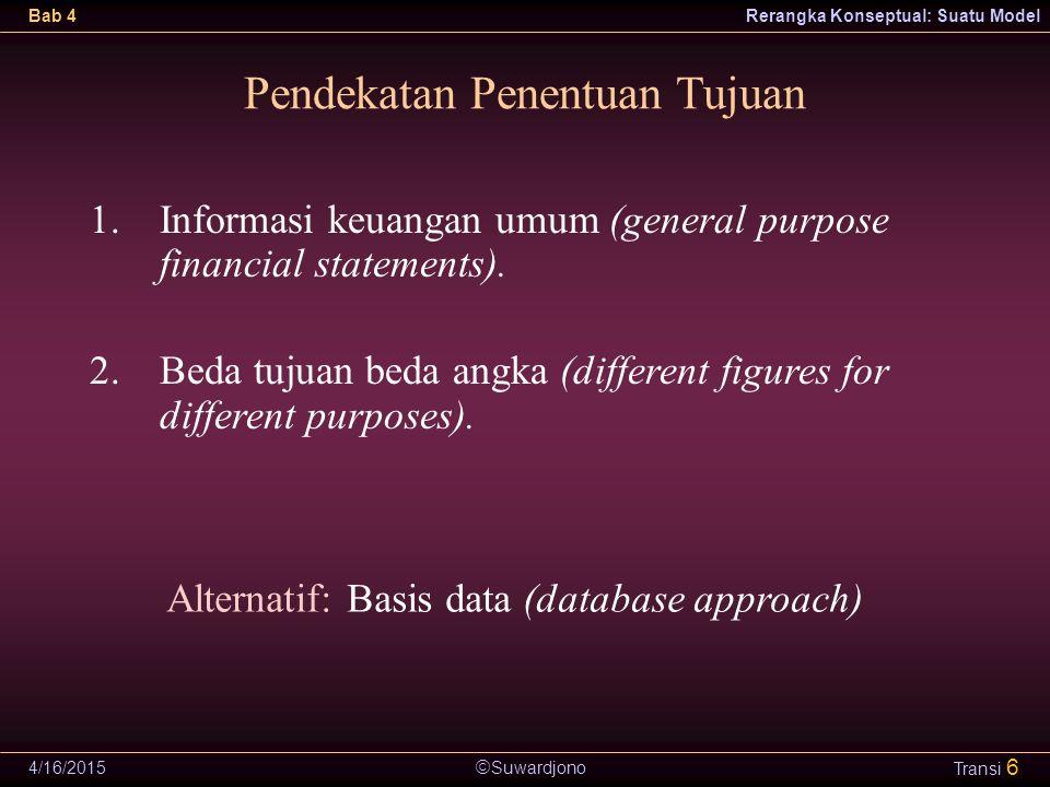  Suwardjono Bab 4Rerangka Konseptual: Suatu Model 4/16/2015 Transi 6 Pendekatan Penentuan Tujuan 1.Informasi keuangan umum (general purpose financial