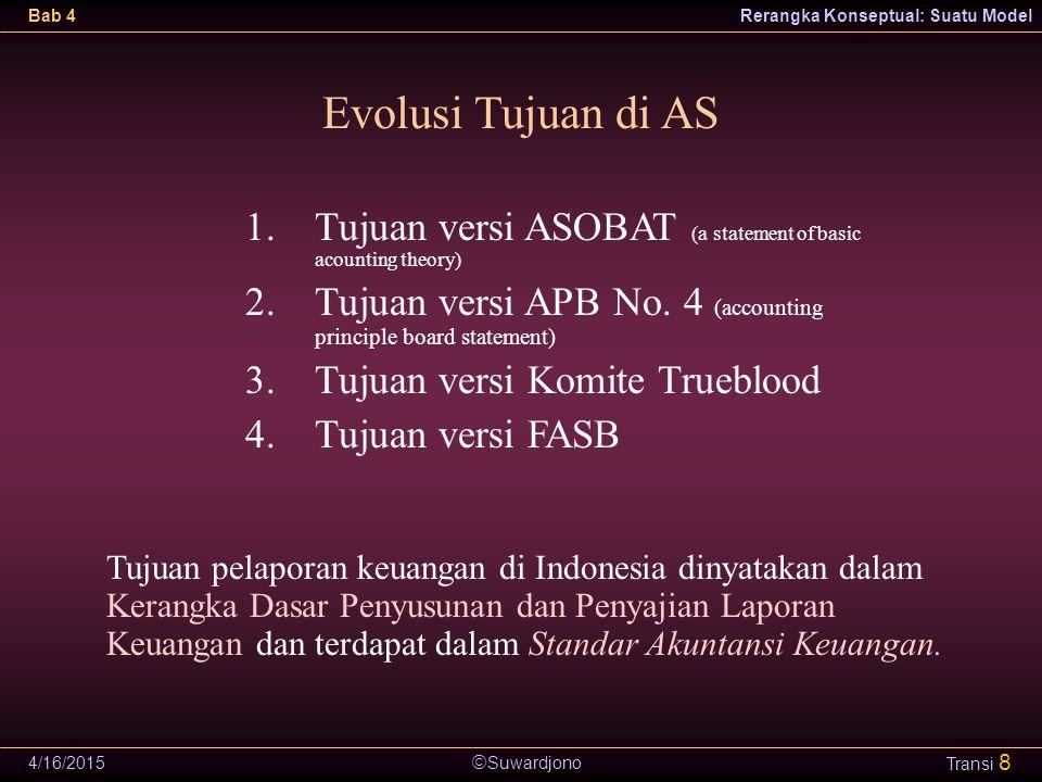  Suwardjono Bab 4Rerangka Konseptual: Suatu Model 4/16/2015 Transi 8 Evolusi Tujuan di AS 1.Tujuan versi ASOBAT (a statement of basic acounting theor
