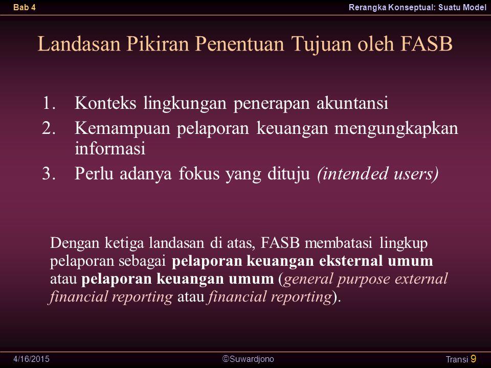  Suwardjono Bab 4Rerangka Konseptual: Suatu Model 4/16/2015 Transi 9 Landasan Pikiran Penentuan Tujuan oleh FASB 1.Konteks lingkungan penerapan akunt