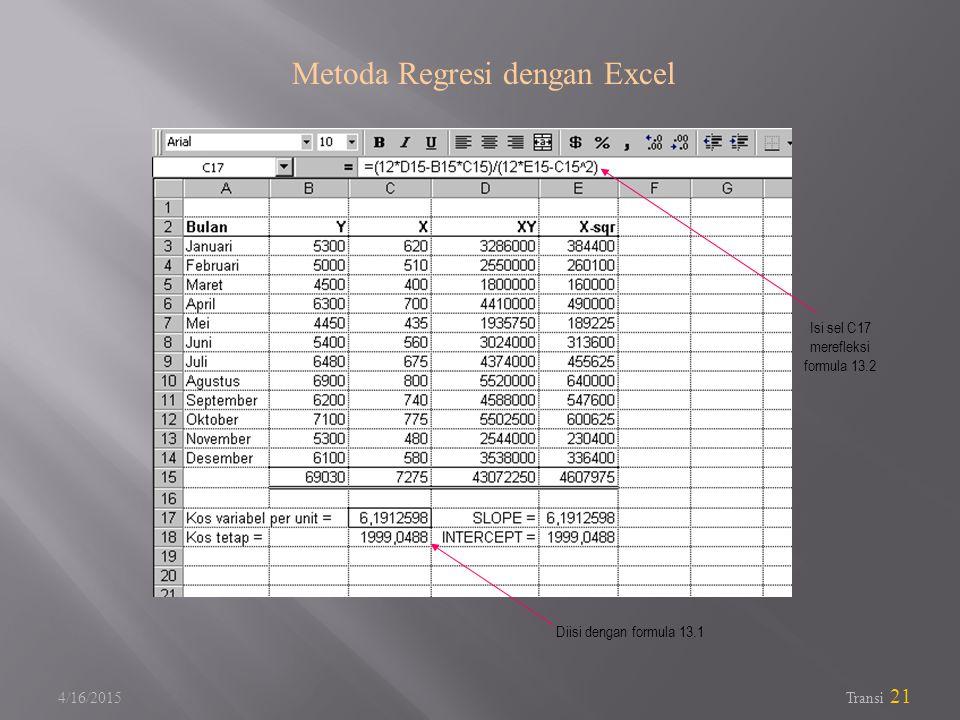 4/16/2015 Transi 21 Metoda Regresi dengan Excel Isi sel C17 merefleksi formula 13.2 Diisi dengan formula 13.1