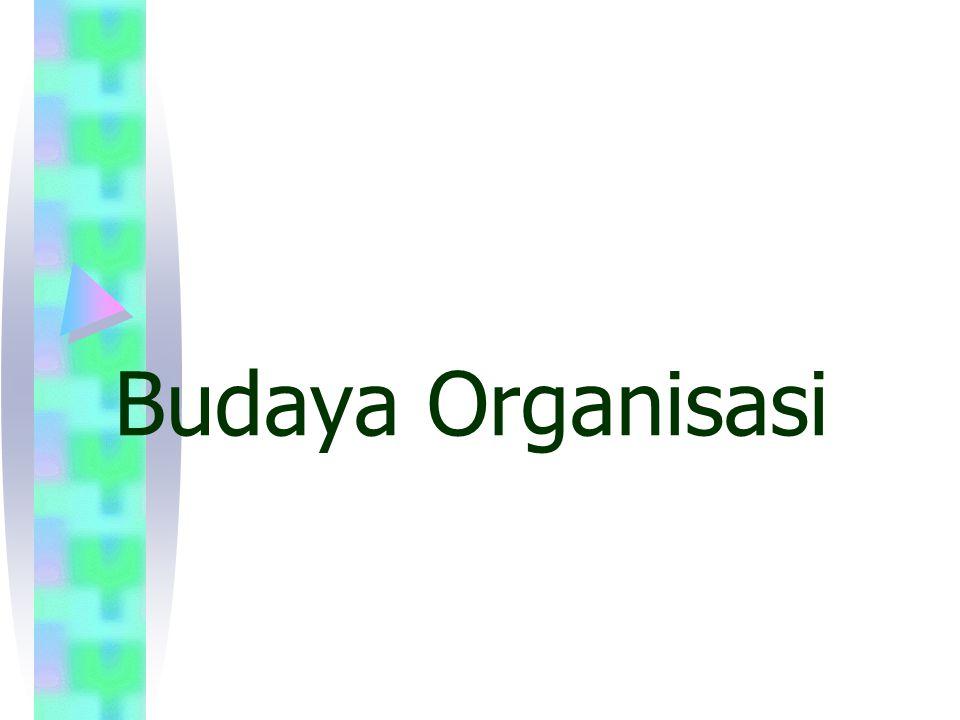 Budaya Organisasi: Definisi Sebuah sistem makna yg dianut bersama oleh anggota organisasi(system of shared meaning), yg membedakan organisasi dgn organisasi lainnya.