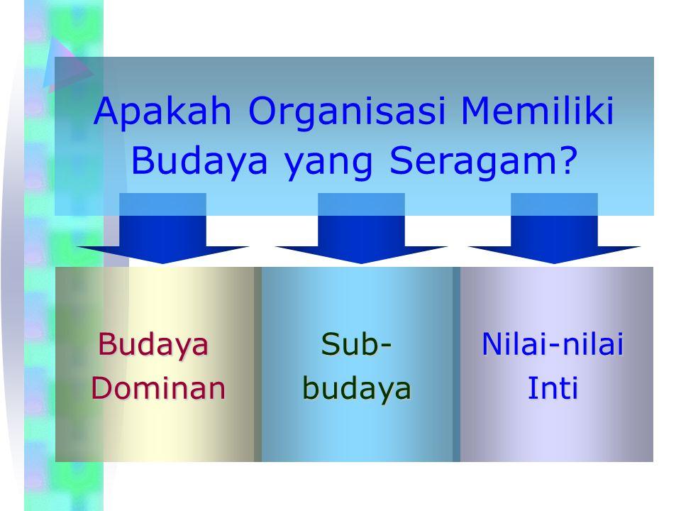 Strong Versus Weak Cultures Ciri-ciri Budaya Kuat: Nilai-nilai inti dianut secara luas dan intens.