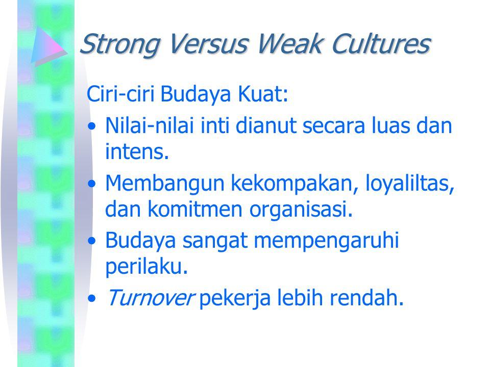 Strong Versus Weak Cultures Ciri-ciri Budaya Kuat: Nilai-nilai inti dianut secara luas dan intens. Membangun kekompakan, loyaliltas, dan komitmen orga