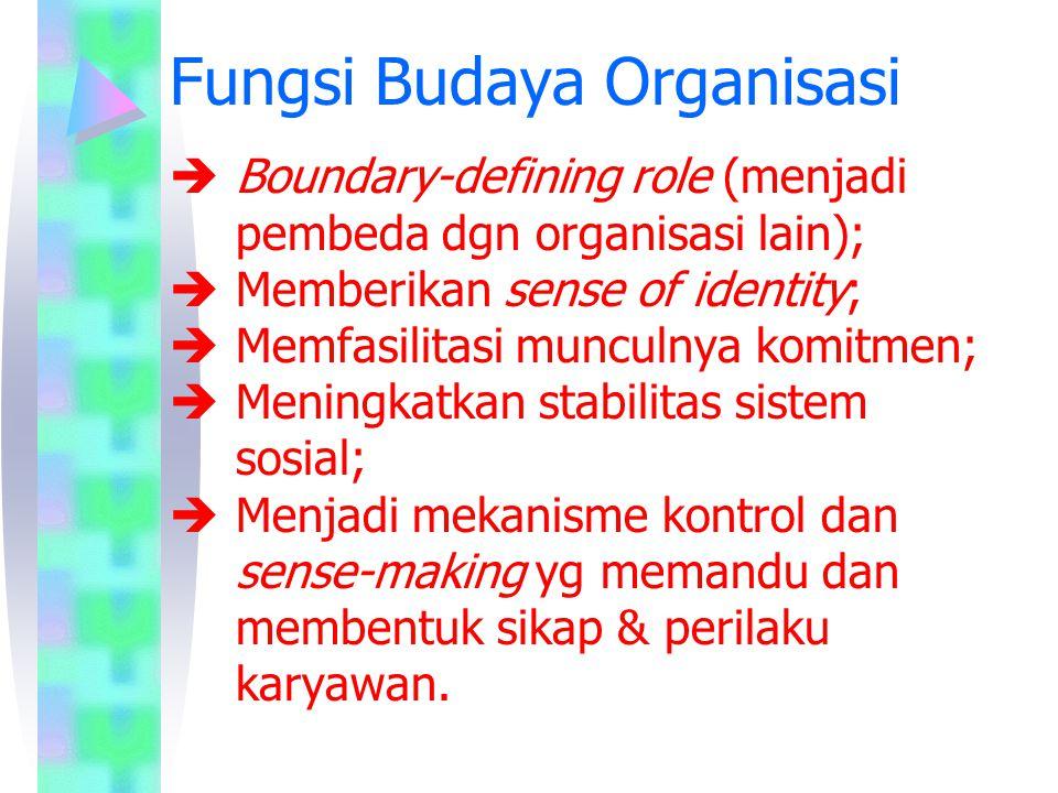 Fungsi Budaya Organisasi  Boundary-defining role (menjadi pembeda dgn organisasi lain);  Memberikan sense of identity;  Memfasilitasi munculnya kom