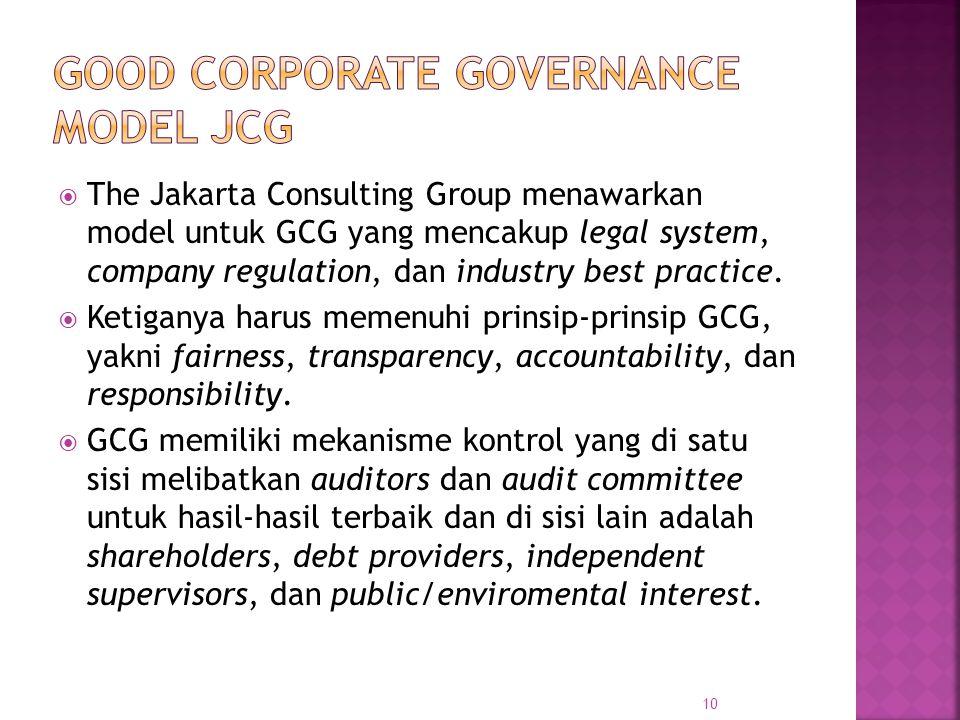  The Jakarta Consulting Group menawarkan model untuk GCG yang mencakup legal system, company regulation, dan industry best practice.  Ketiganya haru