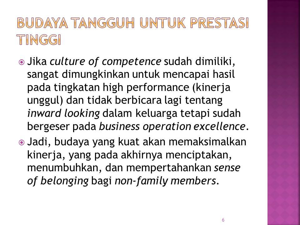  Jika culture of competence sudah dimiliki, sangat dimungkinkan untuk mencapai hasil pada tingkatan high performance (kinerja unggul) dan tidak berbi