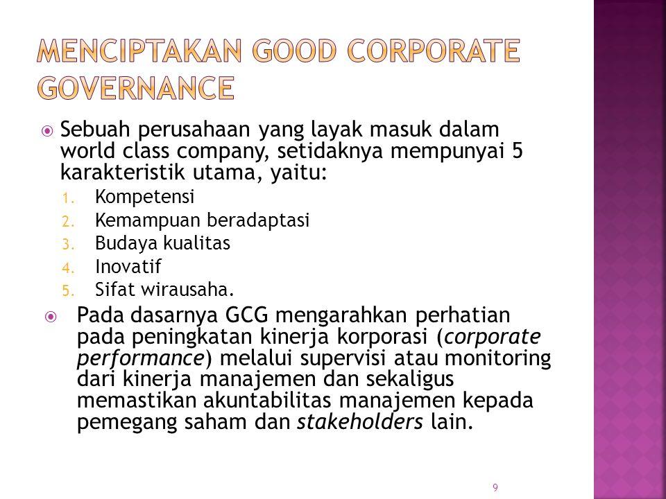  Sebuah perusahaan yang layak masuk dalam world class company, setidaknya mempunyai 5 karakteristik utama, yaitu: 1. Kompetensi 2. Kemampuan beradapt