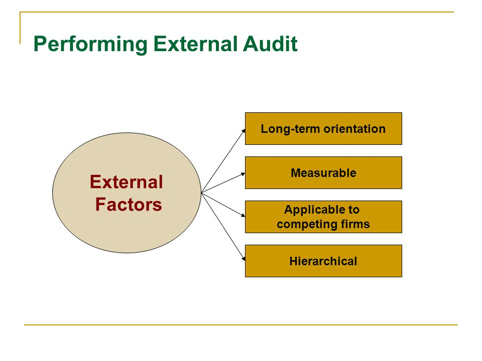 Performing External Audit External Factors Measurable Long-term orientation Applicable to competing firms Hierarchical