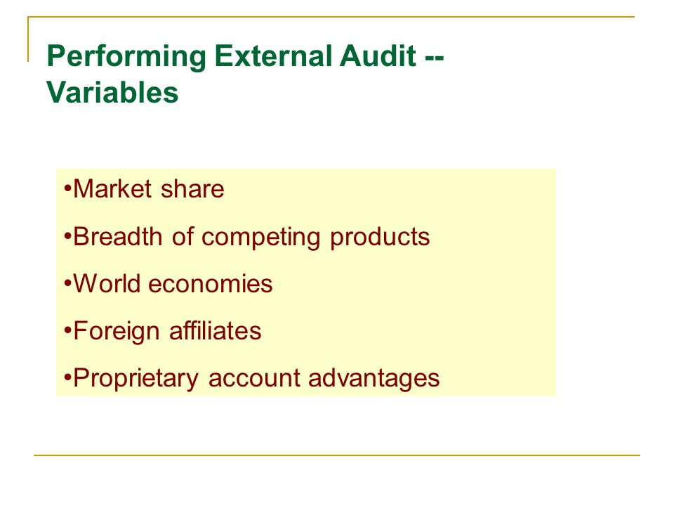 Performing External Audit -- Variables Market share Breadth of competing products World economies Foreign affiliates Proprietary account advantages