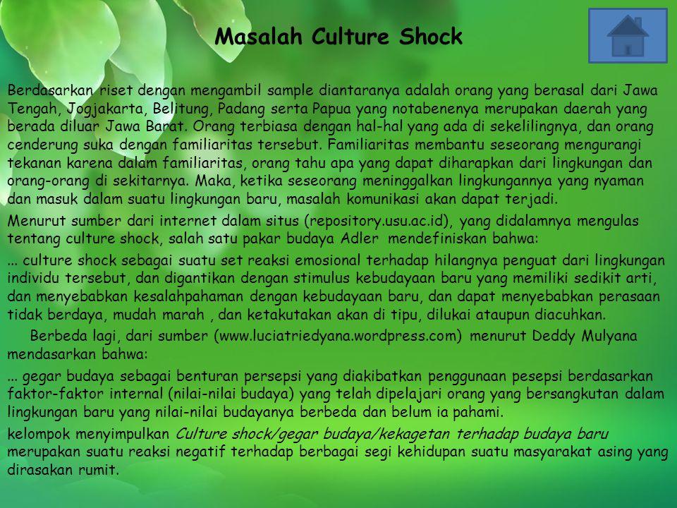 Masalah Culture Shock Berdasarkan riset dengan mengambil sample diantaranya adalah orang yang berasal dari Jawa Tengah, Jogjakarta, Belitung, Padang s