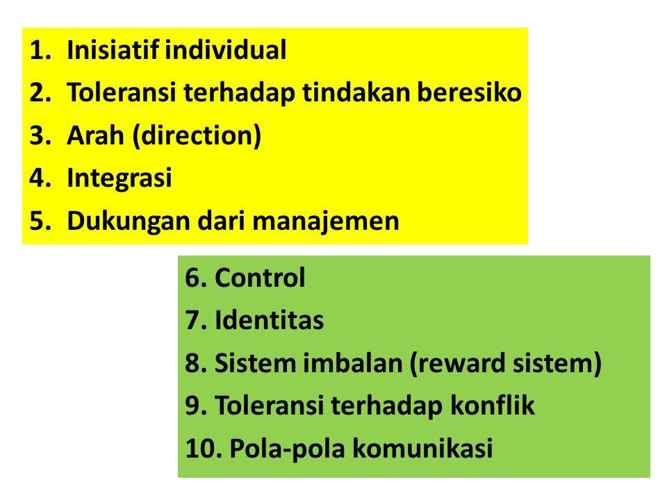 1.Inisiatif individual 2.Toleransi terhadap tindakan beresiko 3.Arah (direction) 4.Integrasi 5.Dukungan dari manajemen 6. Control 7. Identitas 8. Sist