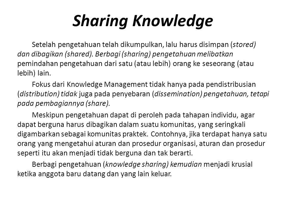 Sharing Knowledge Setelah pengetahuan telah dikumpulkan, lalu harus disimpan (stored) dan dibagikan (shared). Berbagi (sharing) pengetahuan melibatkan
