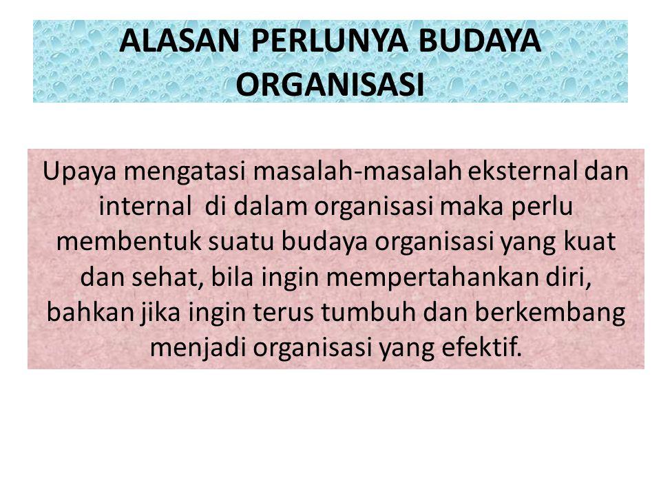 ALASAN PERLUNYA BUDAYA ORGANISASI Upaya mengatasi masalah-masalah eksternal dan internal di dalam organisasi maka perlu membentuk suatu budaya organis