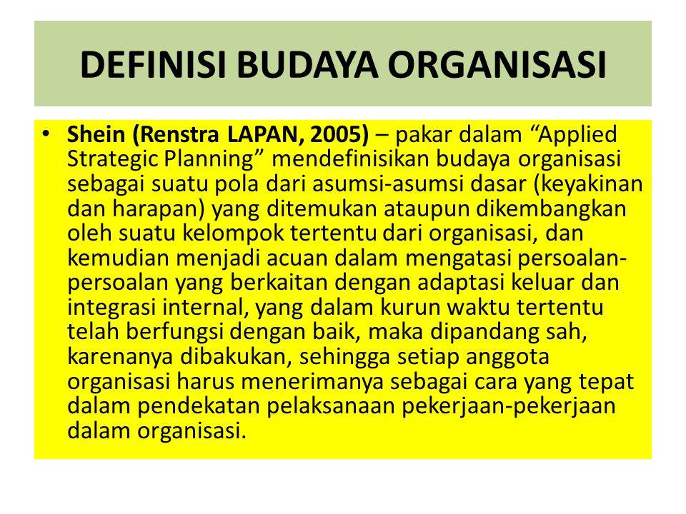 "DEFINISI BUDAYA ORGANISASI Shein (Renstra LAPAN, 2005) – pakar dalam ""Applied Strategic Planning"" mendefinisikan budaya organisasi sebagai suatu pola"