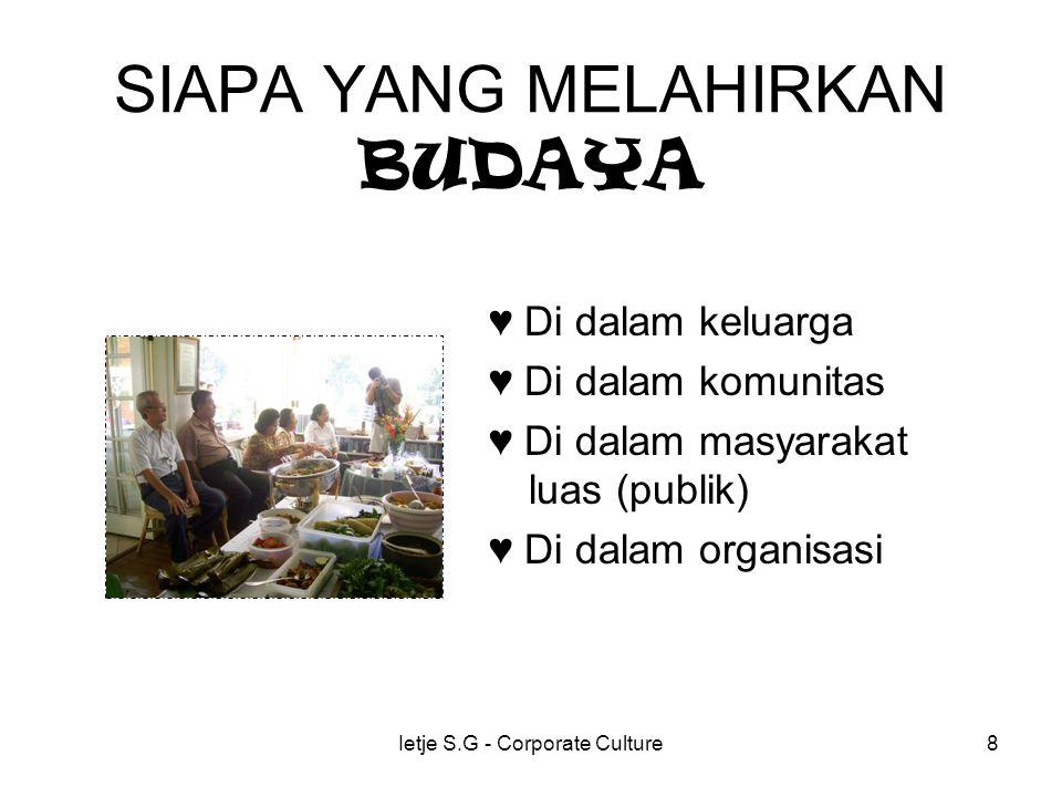Ietje S.G - Corporate Culture8 SIAPA YANG MELAHIRKAN BUDAYA ♥ Di dalam keluarga ♥ Di dalam komunitas ♥ Di dalam masyarakat luas (publik) ♥ Di dalam organisasi