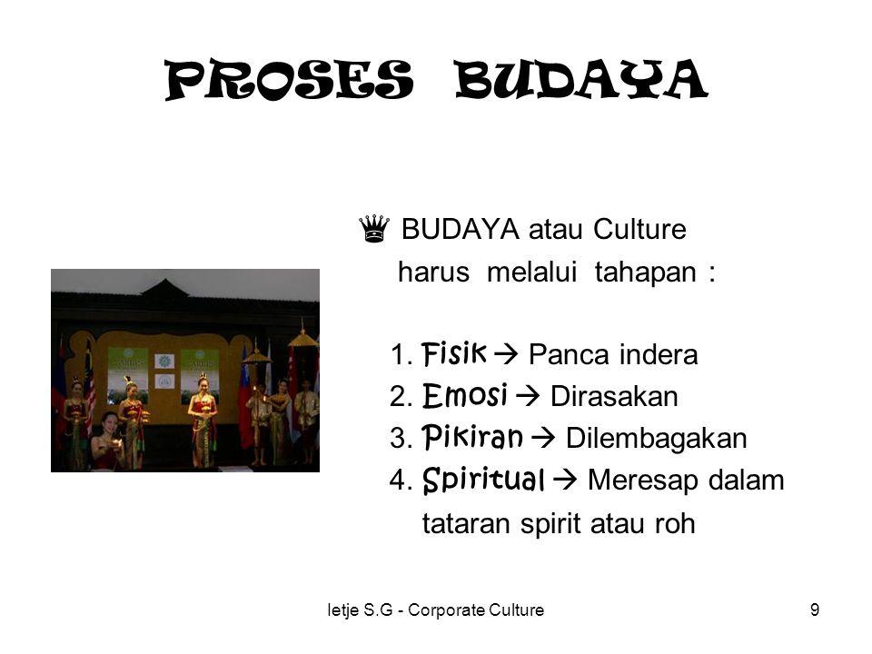 Ietje S.G - Corporate Culture9 PROSES BUDAYA ♛ BUDAYA atau Culture harus melalui tahapan : 1.