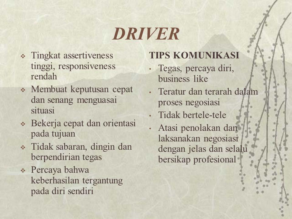 DRIVER  Tingkat assertiveness tinggi, responsiveness rendah  Membuat keputusan cepat dan senang menguasai situasi  Bekerja cepat dan orientasi pada