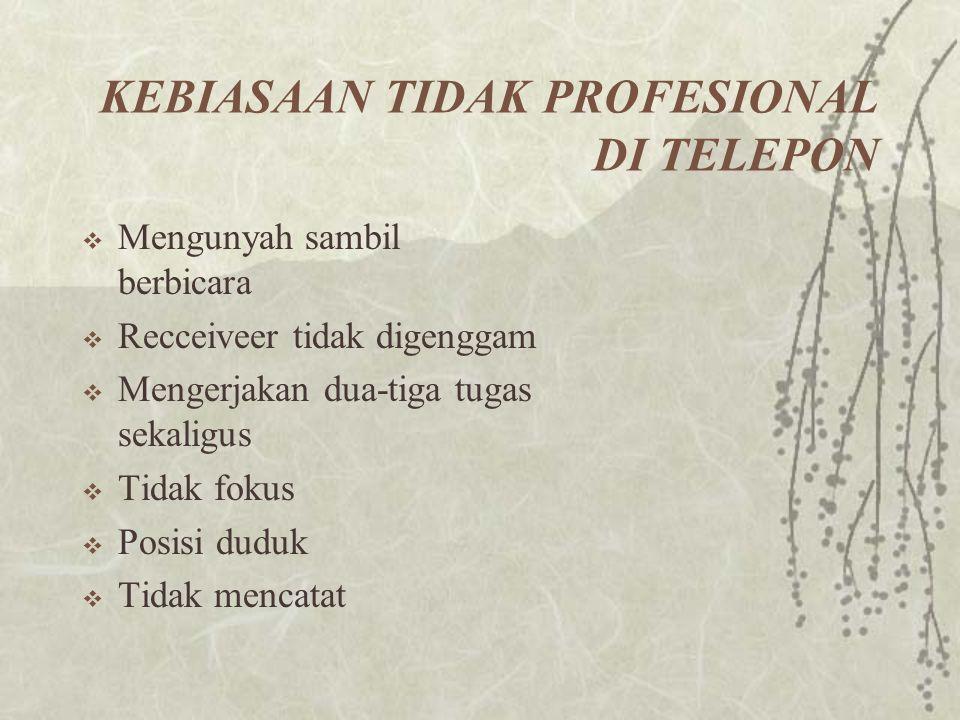 KEBIASAAN TIDAK PROFESIONAL DI TELEPON  Mengunyah sambil berbicara  Recceiveer tidak digenggam  Mengerjakan dua-tiga tugas sekaligus  Tidak fokus