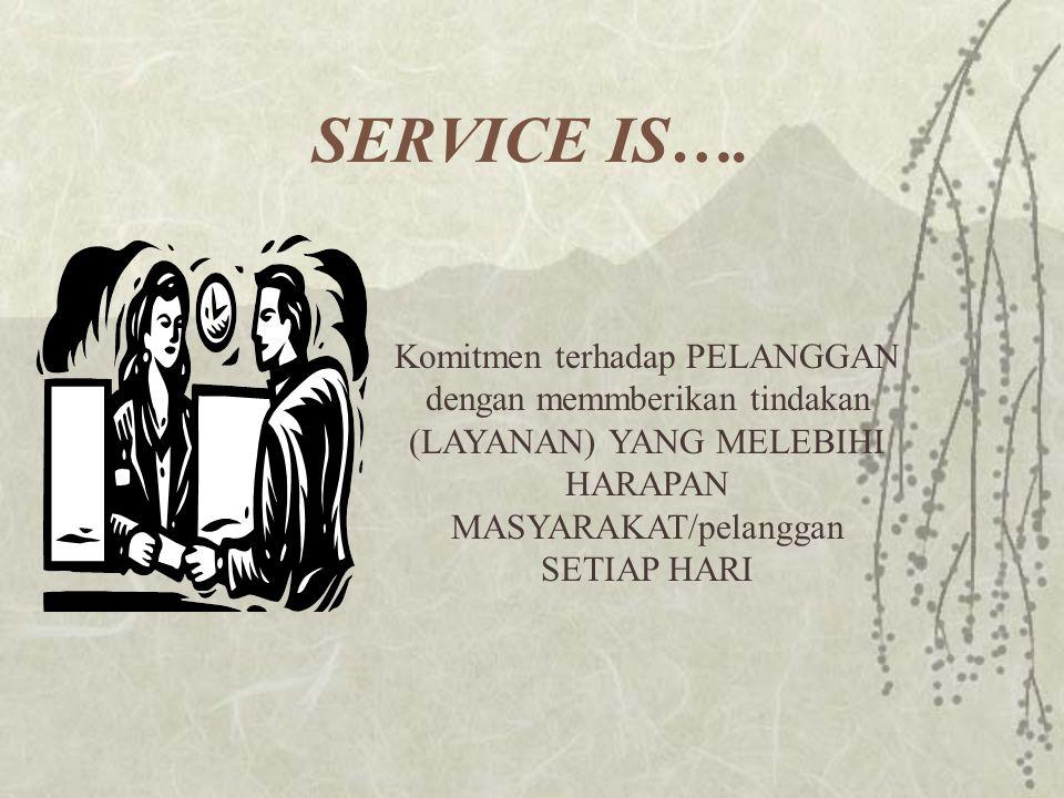 SERVICE IS…. Komitmen terhadap PELANGGAN dengan memmberikan tindakan (LAYANAN) YANG MELEBIHI HARAPAN MASYARAKAT/pelanggan SETIAP HARI