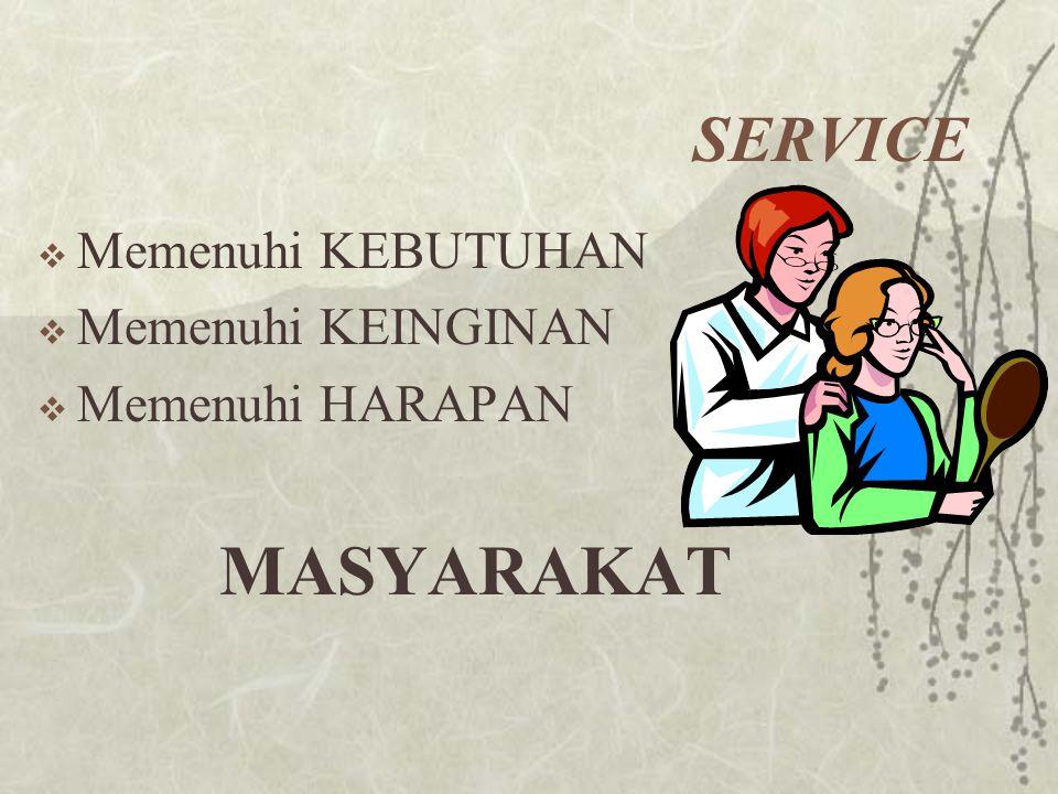 SERVICE  Memenuhi KEBUTUHAN  Memenuhi KEINGINAN  Memenuhi HARAPAN MASYARAKAT