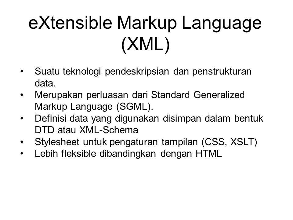 eXtensible Markup Language (XML) Suatu teknologi pendeskripsian dan penstrukturan data.